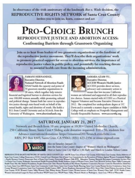 Pro-Choice Brunch, January 21st 2017, Reproductive Rights Network of Santa Cruz County